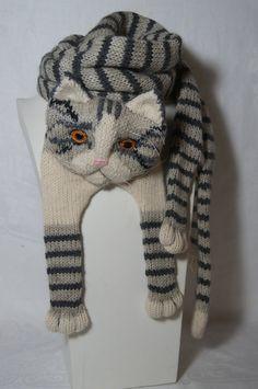 Tabby grau Katze Schal stricken Schal grau Schal von Eastalace