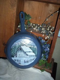 Cast Iron Fry Pan with Hand Painted Winter Barn Scene | eBay