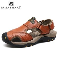 91078f1f544 Brand Men Sandals Summer Beach Genuine Leather Casual Shoes Trekking sandals  Men Breathable Outdoor Footwear Male