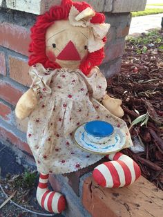 Doll Sewing Pattern Tea with Raggedy Ann by anniescupboards, $8.00