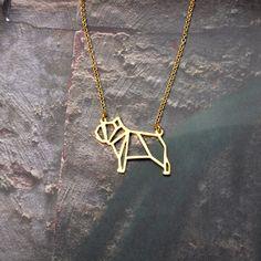 Bulldog, Origami Dog Necklace, Dog jewelry, Dog Breed, Origami Necklace…