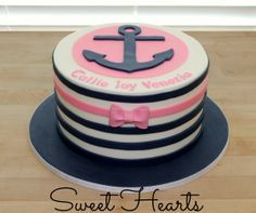 chevron anchor cake with bow girls 13th - Google Search