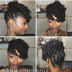 Beautiful Natural Hairstyles You Can Wear Anywhere - We Would Like To Begin Our List Of The Best Natural Hairstyles With This Glam Updo The Twisted Hair Has Been Styled High Onto The Head With Two Loose Braids At The Front It Also Has A Beautiful Hair Pelo Rasta, Pelo Afro, Natural Hair Updo, Natural Hair Care, Natural Beauty, Natural Shampoo, Girl Hairstyles, Braided Hairstyles, Natural Updo Hairstyles