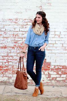 chambray shirt + polka dot jeans + scarf + oxfords + brown bag