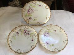 Antique French Limoges Porcelain Plates AK CD Klingenberg Dwenger Violets by SunshineVintageGoods on Etsy