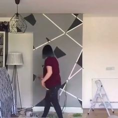 Faux Painting with TapeYou can find Faux painting and more on our website.Faux Painting with Tape Wall Painting Decor, Tape Painting, Wall Paintings, Home Painting Ideas, Faux Painting Walls, Creative Wall Painting, Diy Room Decor, Bedroom Decor, Boys Bedroom Paint