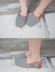 Striped Canvas Slip-Ons by Miamasvin #Miamasvin #KoreanFashion #AsianFashion