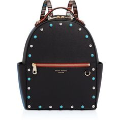 Henri Bendel West 57th Stone Detail Backpack (£310) ❤ liked on Polyvore featuring bags, backpacks, black multi, handle bag, henri bendel, zip bag, zipper bag and rucksack bags