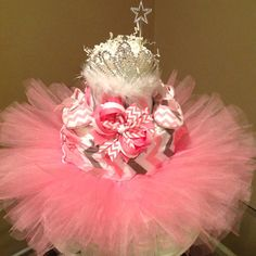 Baby girl diaper Cake for baby shower gift or by AFabulousEvent
