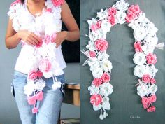 Crochet Flower Scarf 150 cm Women's fashion scarf Pink and White Flowers Bows Beads, soft wool - Listed To Order