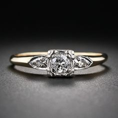 Vintage Two-Tone Diamond Engagement Ring