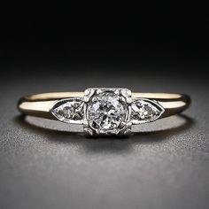 Vintage Two-Tone Diamond Engagement Ring