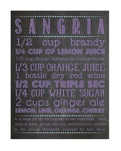 Sangria Recipe graphic print by amyMweir on Etsy Party Food And Drinks, Fun Drinks, Alcoholic Drinks, Beverages, Cocktails, Cocktail Drinks, Recipe Graphic, Summer Drinks, Summer Food