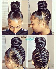 Love this braided bun by #atlantahairstylist @ezbeautified ?? #voiceofhair========================== Go to VoiceOfHair.com ========================= Find hairstyles and hair tips! ==================== (Top Bun Natural Hair)
