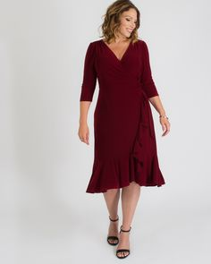 Kiyonna Womens Plus Size Whimsy Wrap Dress Winter Wedding Attire, Cocktail Attire For Women, Knit Dress, Wrap Dress, Shaping Tights, Plus Size Outfits, Plus Size Red Dress, Wedding Guest Dresses, Casual Wedding Outfit Guest