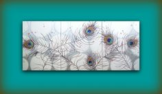 Custom HUGE Painting Original...Made Just for You Commission...Abstract Contemporary Modern Art Triptych Multi Panel Painting by HD Greer. $350.00, via Etsy.