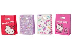 Hello Kitty Gift Bag Set    Great for small gifts or as goodie bags.  1 set contains 8 gift bags (4 designs x 2 pieces each)
