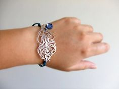 Teal Mystical Peacock Jewelry Bracelet Silver by LycheeKiss, $29.00