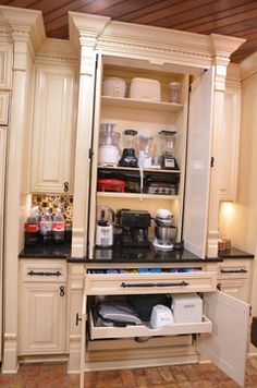 appliance cabinet for microwave, toaster, mixer etc. fold back/slide in doors