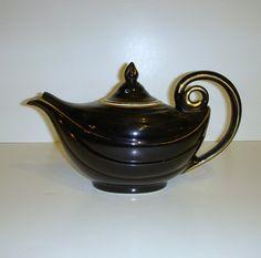 Vintage Black Hall China Aladdin Teapot  6 Cup  Gold by karen6790, $35.00