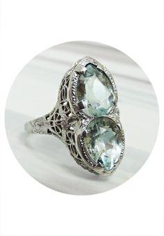 Art Deco Style Aquamarine Ring 14K White Gold $328