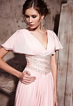 Pink Low V-neck Fan-shaped Short Sleeves Formal Dress 81063