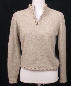 Woolrich Sweater Wool S Women Size Zip Neck Brown Ramie Tan British Blend Small #Woolrich #12Zip