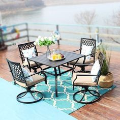 "5pc Dining Set With 37"" Table & 4 Swivel Arm Chairs - Captiva Designs : Target Swivel Dining Chairs, Metal Dining Table, Swivel Armchair, Outdoor Dining Set, Arm Chairs, Outdoor Decor, Patio Dining, Best Outdoor Furniture, Table Furniture"