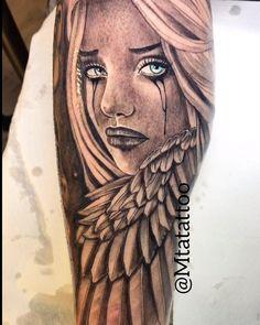 Angel girl tattoo by mta mtatattoo - hübsche Tätowierungen Cool Arm Tattoos, Tribal Sleeve Tattoos, Japanese Sleeve Tattoos, Unique Tattoos, Leg Tattoos, Body Art Tattoos, Mädchen Tattoo, Medusa Tattoo, Chest Tattoo
