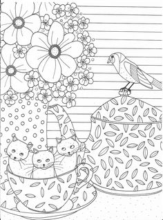 Cute cats in a cup coloring page
