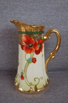 Pickard china large tankard with poppies, 10, signed Frechs
