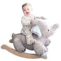 Stomp the Elephant Rocker (w/baby blue) | Rockabye