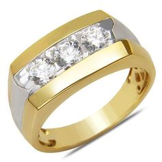 Men's 1CT Diamond 3 Stone Fashion Ring in 14k Yellow Gold...…