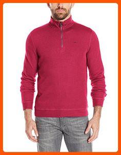 Calvin Klein Men's Long Sleeve Quarter Zip Solid French Rib Pull Over,  Biking Red,  X-Large - Mens world (*Amazon Partner-Link)