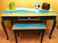 Upcycled Desk and Piano Bench by: Sophisticated Junk Pile