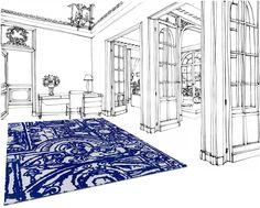 Avenue de Versailles Perspective view  Hand tuft / 100% laine 140 x 200 cm