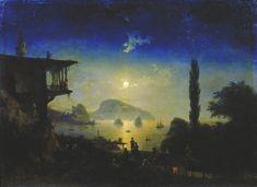 """""""Moonlit Night on the Crimea"""" by Gurzuf - Ivan Aivazovsky, 1839"""