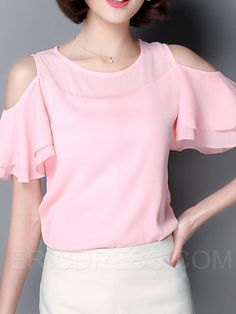 Ericdress Slim Off-Shoulder Chiffon Blouse Blouse Styles, Blouse Designs, Top Chic, Fashion 2017, Fashion Outfits, Formal Tops, Blouse And Skirt, Beautiful Blouses, Blouses For Women