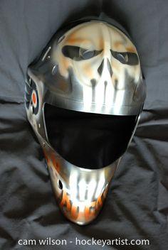 The Punisher Flyers Theme Goalie Mask - Airbrushing by Cam Wilson www.hockeyartist.com