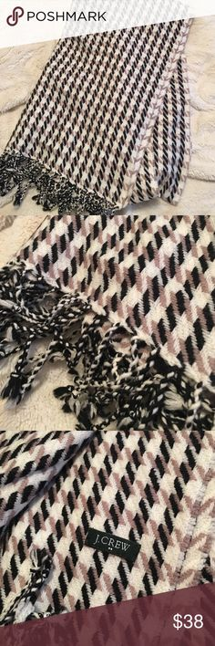 J. Crew Houndstooth scarf J. Crew Houndstooth scarf in black, tan, and cream. Perfect condition. Never worn. J. Crew Accessories Scarves & Wraps
