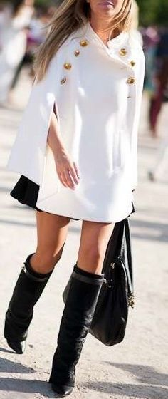 white cape with black boots