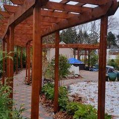 Stunning pine pergola built over walkway. Pergola Canopy, Pergola With Roof, Outdoor Pergola, Backyard Pergola, Pergola Shade, Patio Roof, Pergola Kits, Pergola Ideas, Pergola Decorations