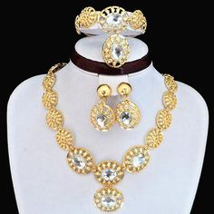 100% Good Quality Guarantee!!New Arrival!!24K Gold Plated Luxury African Style Necklace Earrings Bracelet Ring Jewelry Set For Women B684 Online with $9.43on Newjewelryworld's Store | DHgate.com