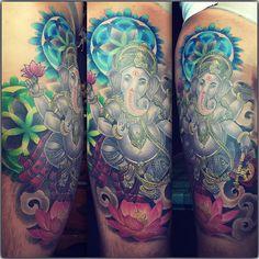 Ganesha Ganesha Tattoos, Ganesha Tattoo Sleeve, Ganesha Tattoo Lotus, Buddha Tattoos, Lotus Tattoo, Sleeve Tattoos, Tattoo Ink, Left Arm Tattoos, New Tattoos