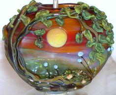WSTGA~A GOLDEN SUNSET~TREE FLORAL FLOWER handmade lampwork focal glass bead SRA #WindSweptTreeGlassArt #Lampwork By Molly Cooley