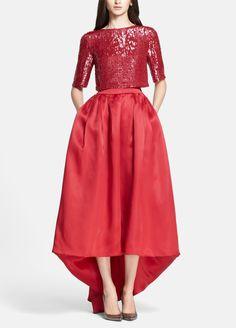 Breathtaking   Red sequin bodice satin organza ballgown.