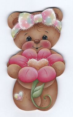 Teddy Bear with Flower Painting E-Pattern par GingerbreadCuties Tole Painting, Fabric Painting, Gingerbread Crafts, Teddy Bear Pictures, Country Paintings, Cute Teddy Bears, Tatty Teddy, Bear Art, Painting Patterns