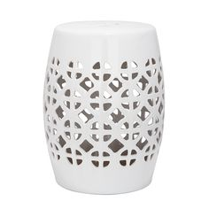 Keramikhocker Circle - Weiß glasiert