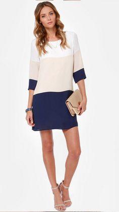 [VENDU] #Robe tricolore manche 3/4 taille M / #sheinside