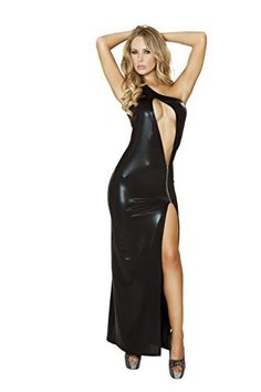 Shimmer metallic single shoulder cut out evening gown with zipper detail FeaturesSexy cutout front designUnique front slitAvailable in 2 colorsMade in the USAGenuine Roma product...